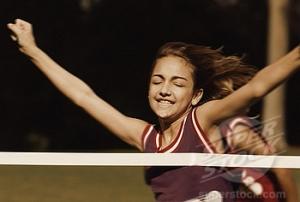 latinos/hispanic girl winning a running race